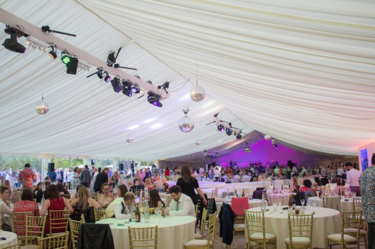 inside a corporate marquee