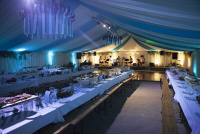 12m Frame Marquee, Pin spot and Uplighting