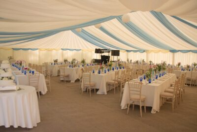 15m Frame Marquee, Coloured lining