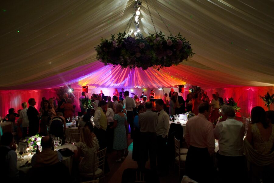 12m Frame Marquee with coloured uplighters
