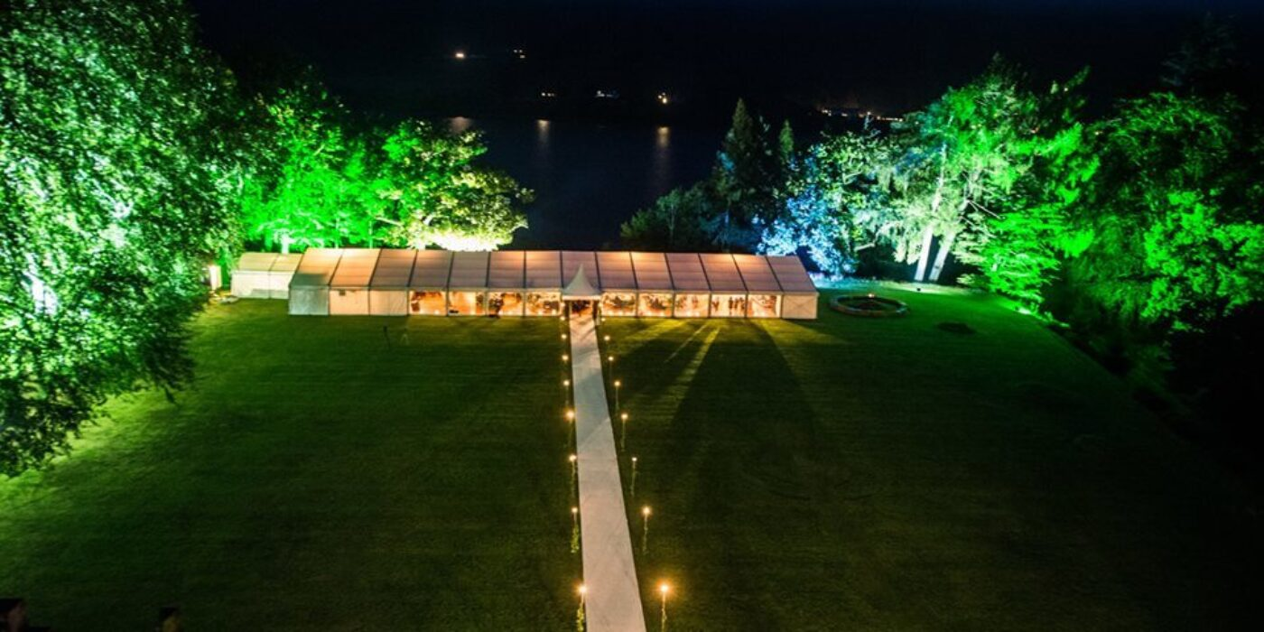 Frame Marquee with Garden Uplighters
