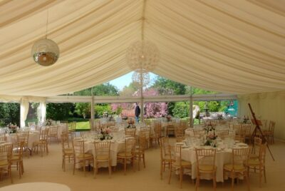 12m Frame Marquee with clear gable end