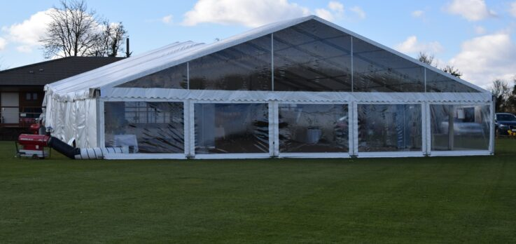 15m Frame Marquee with Clear Gable end