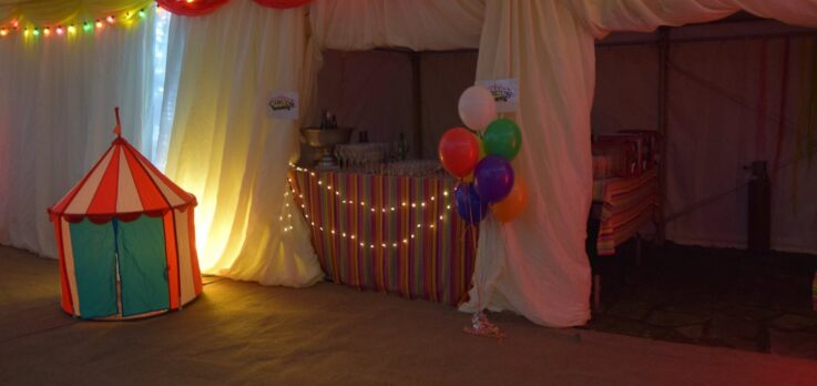Inside the circus themed marquee