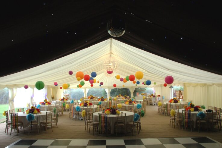 colourful marquee sweet sixteen party