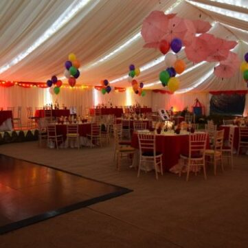 Inside our circus themed marquee.