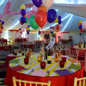 Circus marquee table and chairs