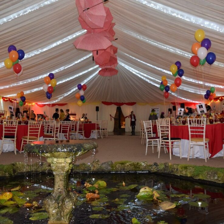 Pond fountain in the circus marquee