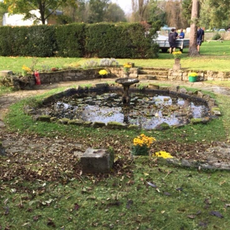 Garden pond before the marquee was build around it