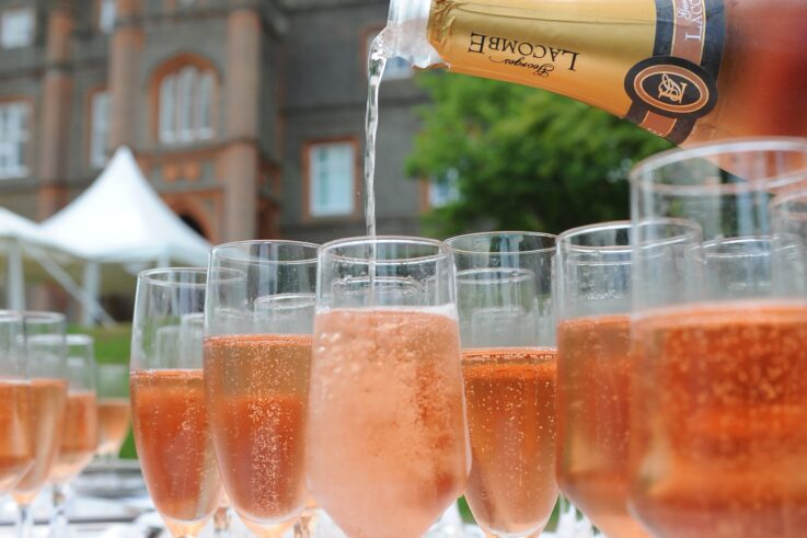 champagne in one of our marquees