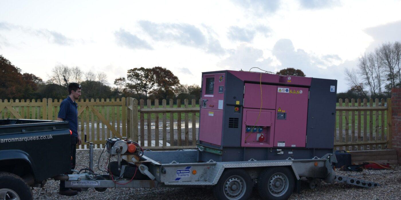 Generator loaded on trailer