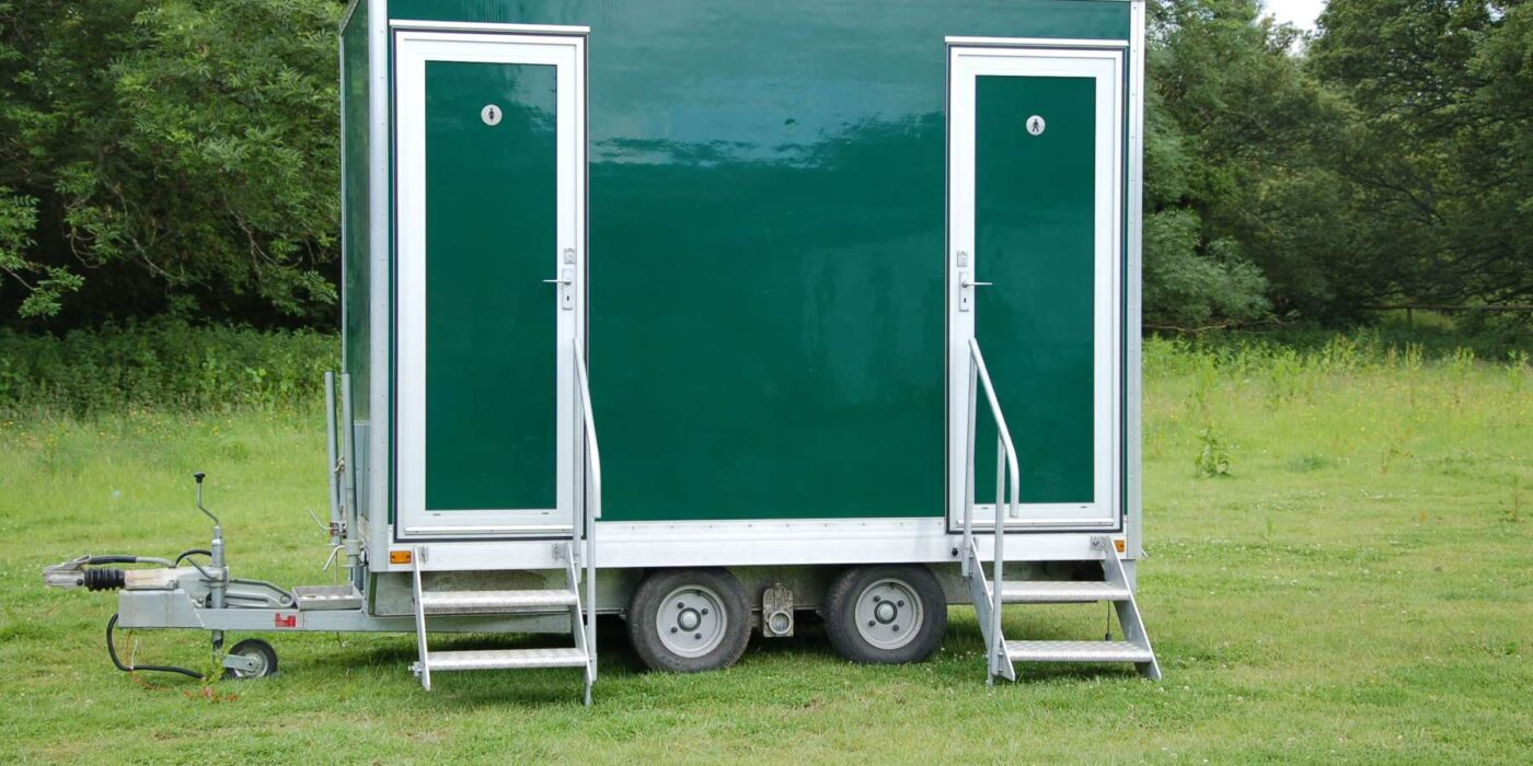Carron Marquees - Outside portable toilets doors closed