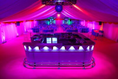 Ivory Linings, Coloured swags, Uplighters and Pinspots