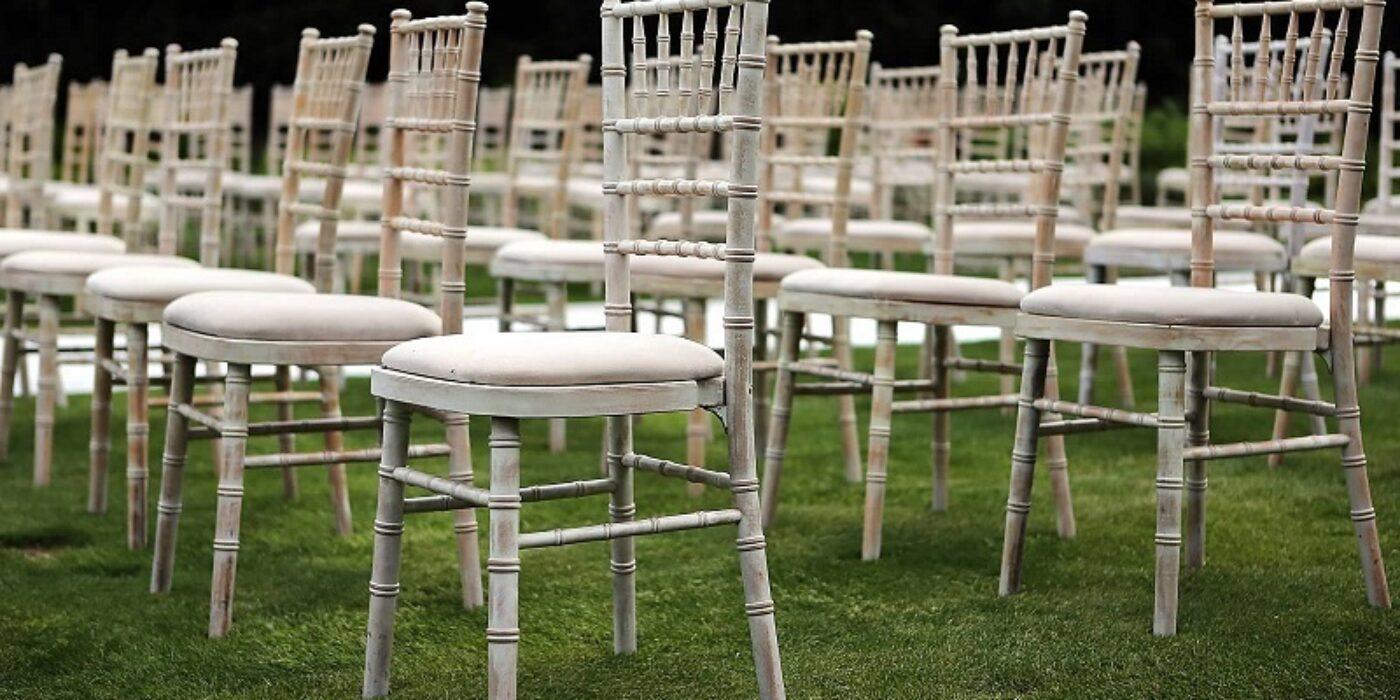 Limewash - Chiavari chairs with Ivory pad